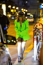 jacket,neon,rihanna,blazer,sandals,tights,skirt,mini skirt,cap