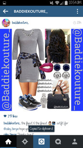sweater dress,grey,outfit,outfit idea,baddiekouture_,jewels,bag,jacket,earphones,shorts