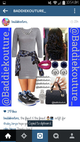 sweater dress grey outfit outfit idea baddiekouture_ jewels bag jacket earphones shorts