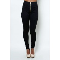 LoveMelrose.com From Harry & Molly | High waisted front zipper pant leggings black from Love Melrose - PANTS - BOTTOMS