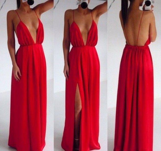 Custom made red backless v neck prom dresses 2015