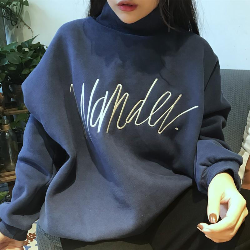 WONTER EMBROIDERY LETTER SOFT MATERIAL WARM SWEATSHIRT