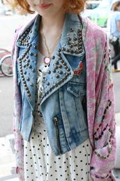 blue jacket,studs,jacket