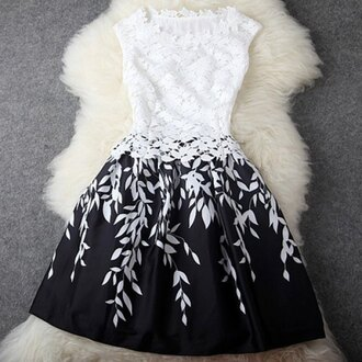 dress black and white floral black white leaves