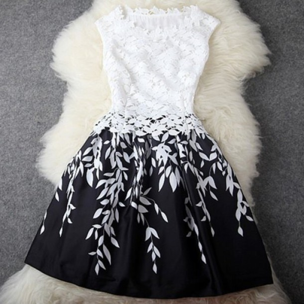 dress black and white floral black white leaves