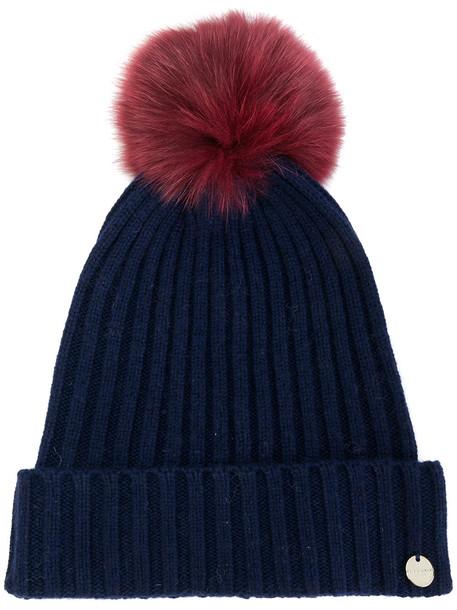 beanie pom pom beanie blue hat