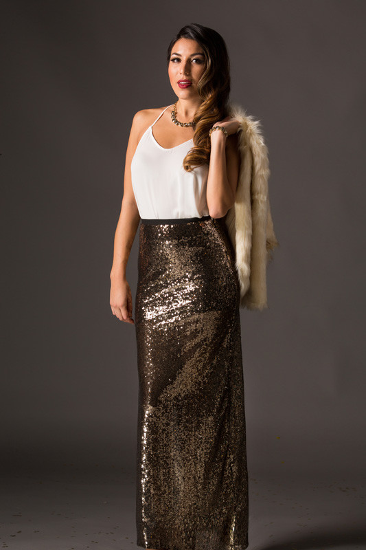 Gold Sequin Maxi Skirt - Morning Lavender