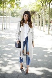 le fashion,blogger,bag,trench coat,hairstyles,leopard print high heels,ripped jeans,white shirt,shoes