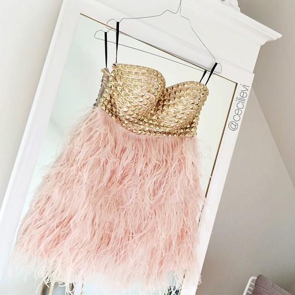 fur gold fur dress pink pink dress gold dress