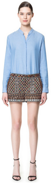 Zara Embroidered Shorts with Stones in Multicolor (black) | Lyst