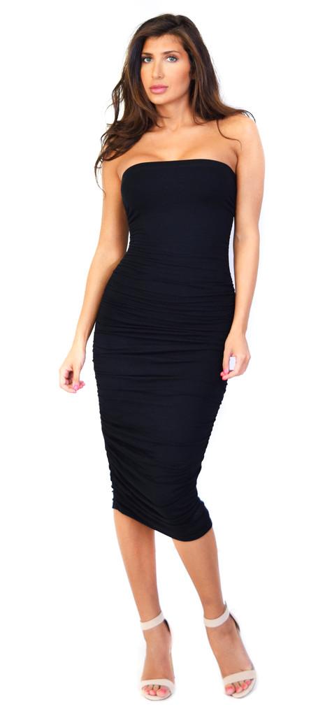 235cf23254485 Emprada - Black Ruched Tube Midi Dress   Emprada
