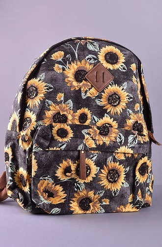 t-shirt backpack sunflower school hipster flowers flower yellow canvas sunflower backpack shoulders online pinterest wanelo