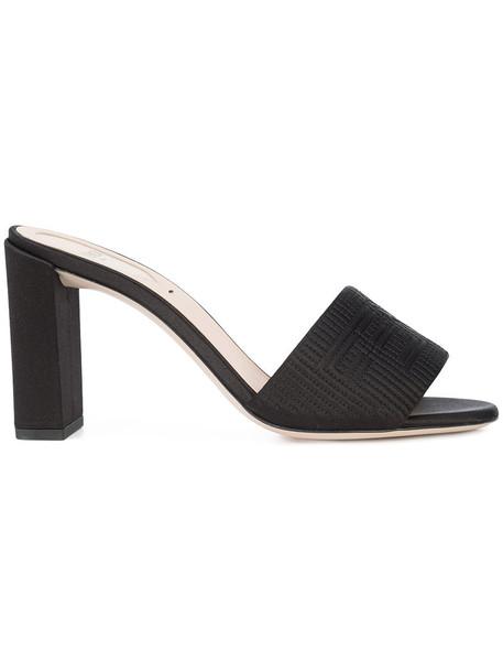 Fendi women sandals leather black silk shoes