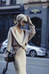 sweater,nude sweater,wrap sweater,long sleeves,dress,nude dress,slip dress,knitted dress,midi dress,the haute pursuit,blogger,bag,black bag,sunglasses,fall outfits,all beige everything