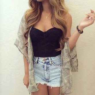cardigan summer coachella shorts shirt cute black crop top black t-shirt black top tank top crop tops style fashion summer top denim shorts acid wash high waisted shorts high waisted denim shorts blonde hair light blue jeans light blue curly hair boho chic boho shirt boho jewelry black shirt top