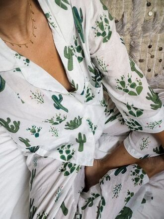 pajamas print cute bedroom nightwear cactus plants jewels jewelry necklace gold gold necklace