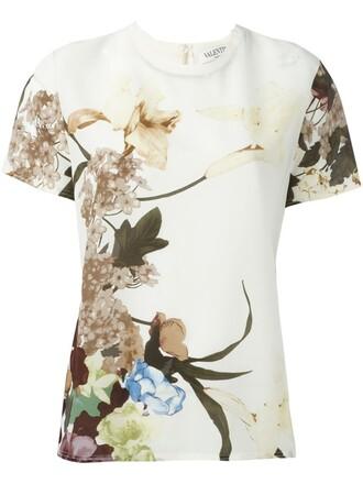 t-shirt shirt floral print nude top