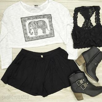 shorts black black shorts elephant sweater elephant print bralette black bralette lace black lace bralette lace bralette black lace black lace bra tank top