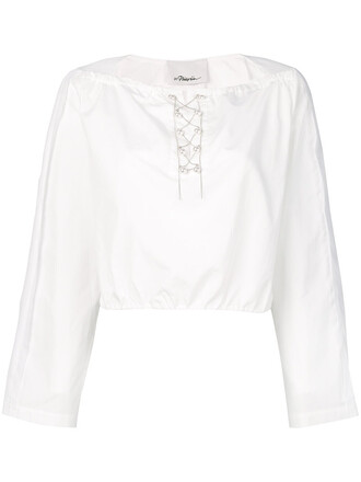 top cropped women pearl white cotton