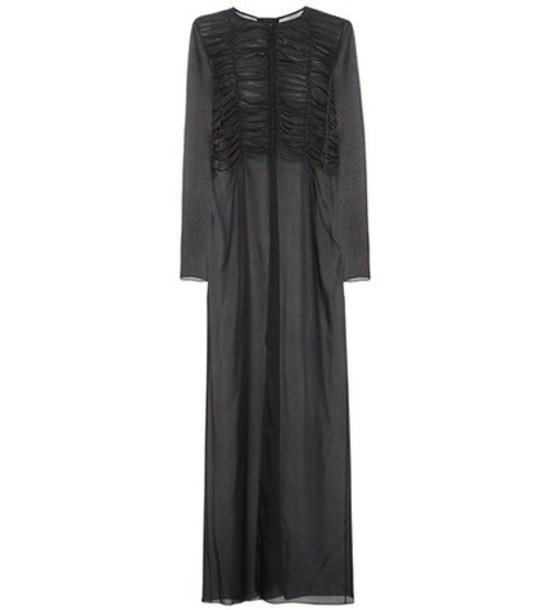 The Row Sabrina silk shirt dress in black