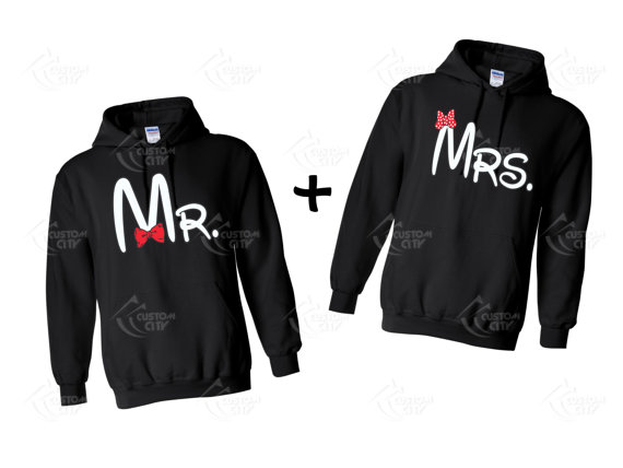 Mr. and mrs. disney  2 hoodie sweatshirts for couple by customcity