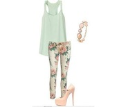 jeans,floral,cute,flowers,pants,clothes,outweare,tank top,shoes,skinny jeans,printed pants,leggings,nude high heels,turquoise,blouse,floral jeans,summer,outfit,stylish,sunglasses,bracelets,denim,muscle t,muscle tee,floral pants,flowered shorts,mint,mint shirt,mint tank,nude pumps,nude