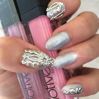 nail accessories silver nails nail jewelry nail jewels nail charm nailart authentic handmade original