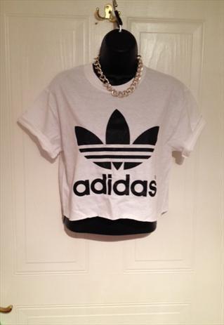 Unisex customised adidas cropped t shirt festival swag