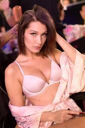 underwear,bra,robe,bella hadid,model,lingerie,coat