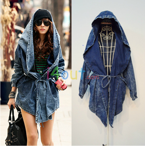 Cool Fashion Womens Lady Denim Trench Coat Hoodie Hooded Outerwear ...
