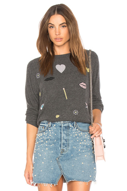 Lauren Moshi pullover sweatshirt boyfriend black sweater