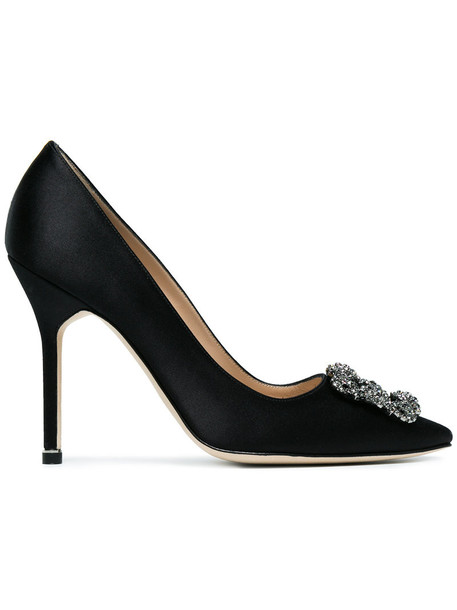 women pumps leather black satin shoes