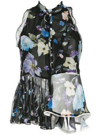 blouse embroidered women floral black silk top