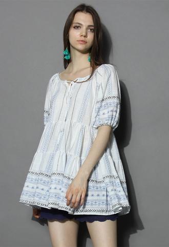 top my boho dolly ruffled tunic in blue chicwish boho tunic ruffled tunic boho dress boho top chicwish.com