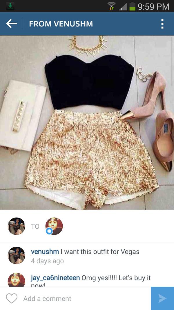 shorts gold sequin shorts