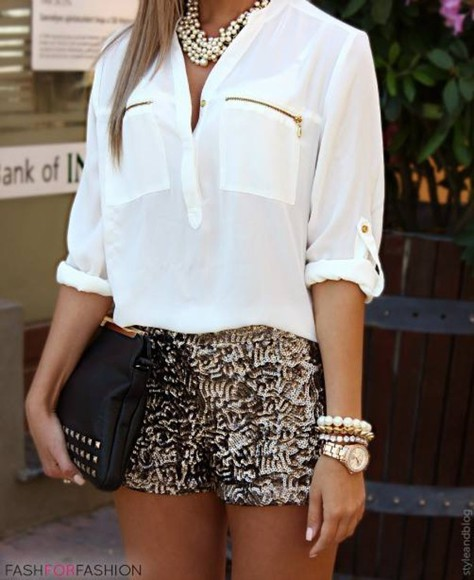 blouse white black shorts white blouse zippers sparkling sparkling shorts short clutch gold jewels clothes shirt bag sweet shiny shorts pretty sequin shorts black gold sequin dress short shorts, cut offs, summer, australia, tribal, navajo necklace