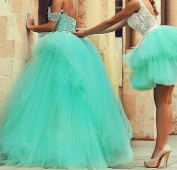 both short and long something similliar? dress quinceanera dress tulle skirt homecoming dress turquoise lace blue short dress