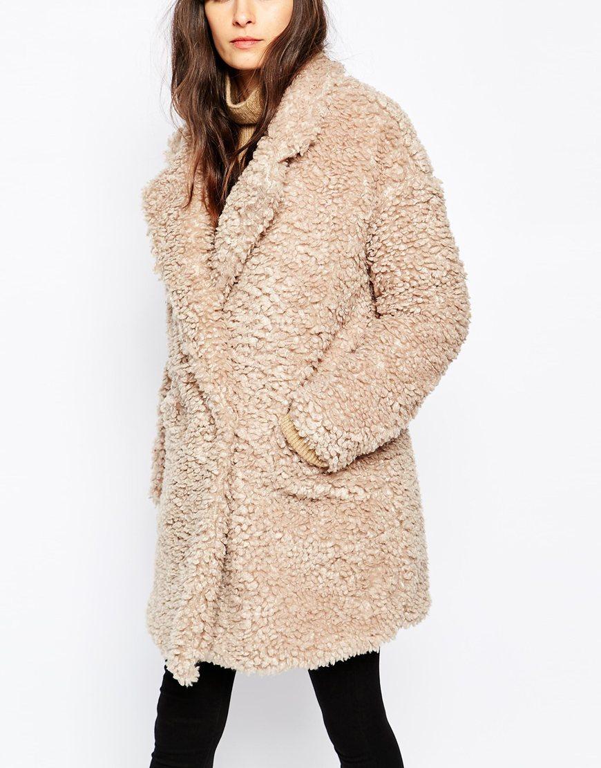 Paisie fluffy teddy bear coat at asos com