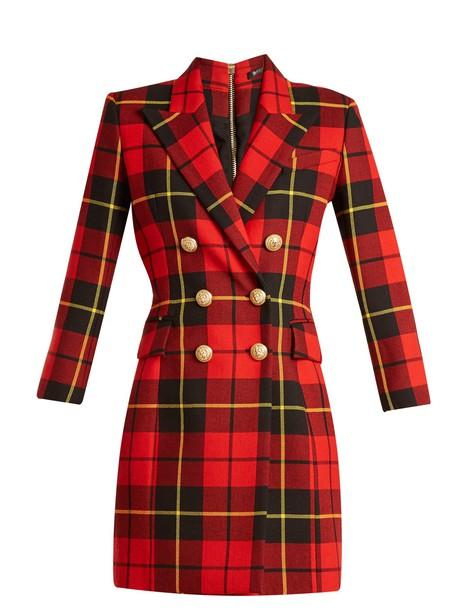 Balmain dress mini dress mini wool tartan red
