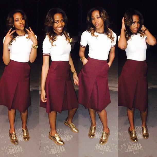 0215bd062 skirt burgundy red red wine burgundy skirt tea length skirt knee length  knee length skirt red
