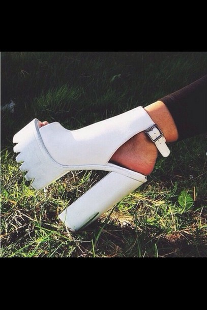Shoes: white white shoes white heels white high heels white