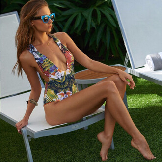 swimwear one piece swimsuit summer beach pattern trendy low cut sexy hot bikiniluxe-feb bikini fashion style one piece floral print design chair love