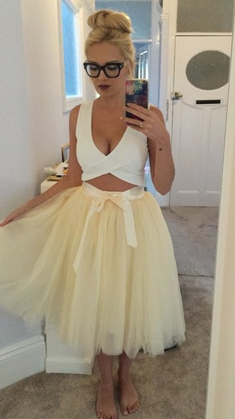 skirt tulle skirt tutu fashion style yellow girly trendy midi midi skirt musheng