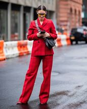 bag,dior bag,plaid,suit,leather bag,red heels,sunglasses