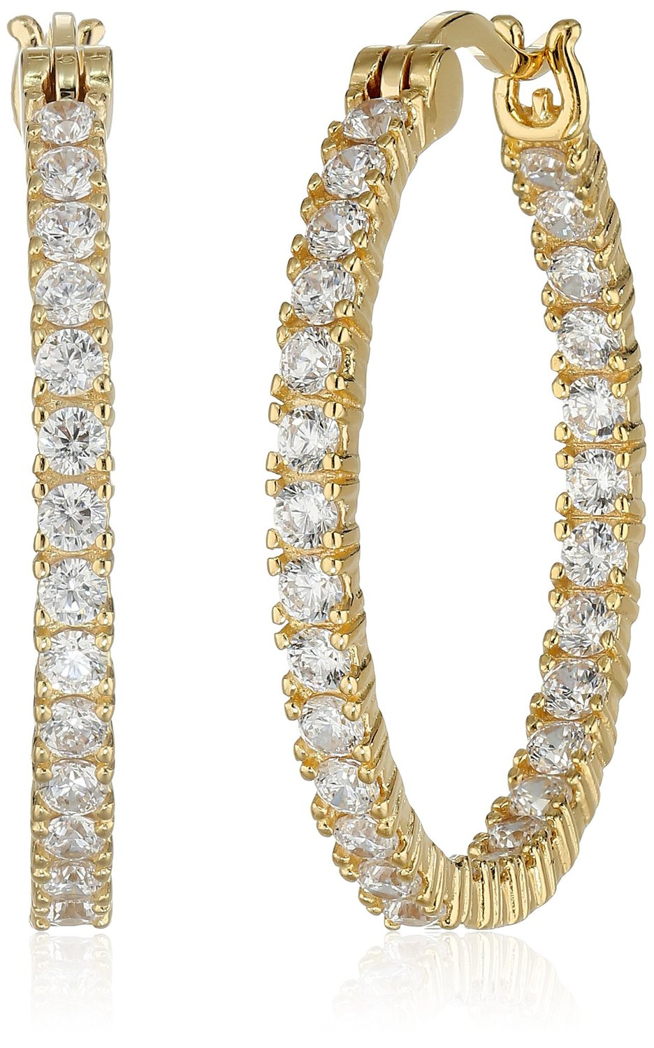 "Amazon.com: 18k yellow gold plated sterling silver cubic zirconia 2mm hoop earrings, 1"": jewelry"