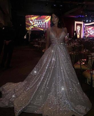 dress emmys crystal shiny celeberity sparkly dress prom dress