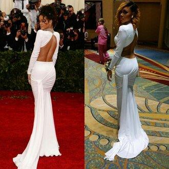 dress prom dress formal white formal dress white dress rihanna prom gown bodycon dress bodycon