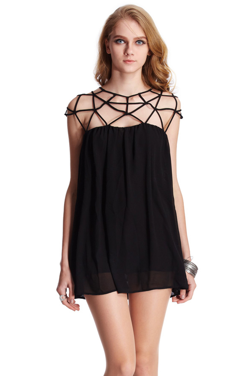ROMWE | ROMWE Cut-out Upper Sleeveless Black Smock Dress, The Latest Street Fashion