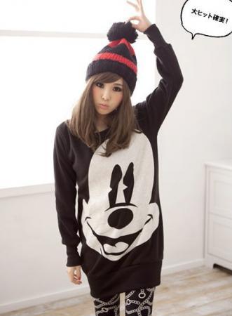 Japan vivi womens mickey mouse fur under hoodie pompom loose cotton sweater coat