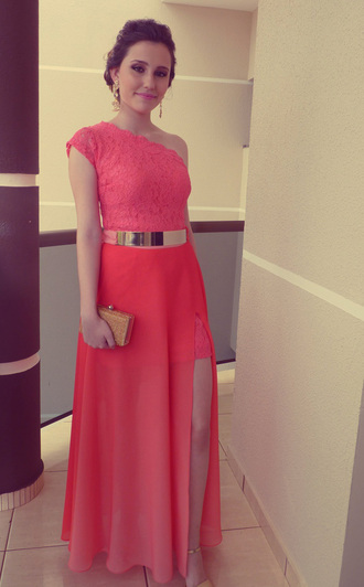 coral coral dress fashion homecoming dress prom dress